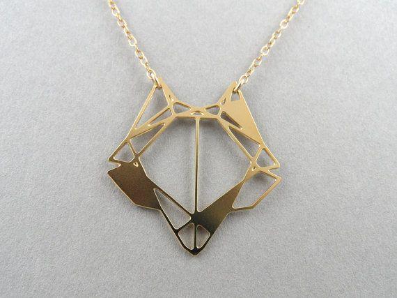 origami volpe volpe collana Collana geometrica volpe