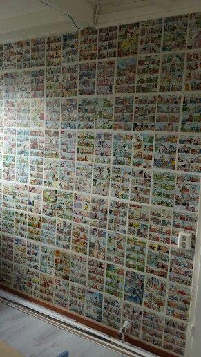 Ik heb een muur behangen met Donald Ducks. Zo trots op het resultaat!!!! En je kunt het natuurlijk met ieder gewenst tijdschrift doen. Kranten als onderlaag. -   Kinderkamer creatief behang goedkoop uniek persoonlijk doe het zelf - kids room creative wall low budget unique personal DIY