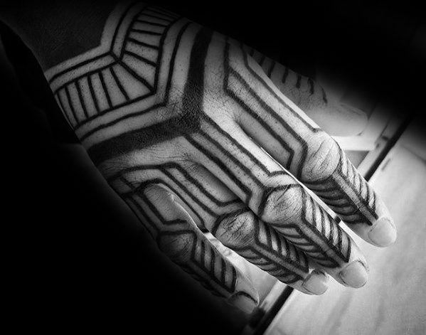40 Geometric Hand Tattoos For Men Pattern Design Ideas Hand