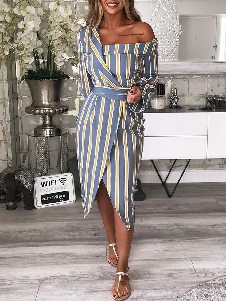 Striped Irregular One Shoulder Shirt Dress