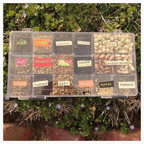 Bead Box Seed Library We all love to collect and examine and arrange our seed packs in winter. But when its time to plant, fumbling with those envelopes can result in frustration and wasted seeds. Use an inexpensive craft bead box with a locking mechanism to make yourself a seed library. Easy access to your most common and succession planted veggies.