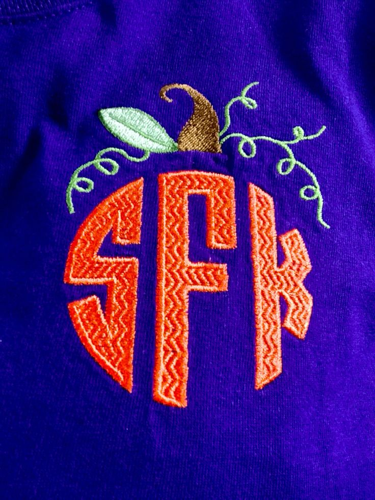 Fall monogram with pumpkin topper embroidered my