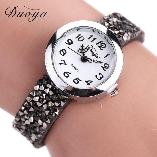 Duoya Brand Watches Women Fashion Casual Crystal Rhinestone Bracelet Watch Ladies Dress Quartz Luxury Vintage Watch Women DY005