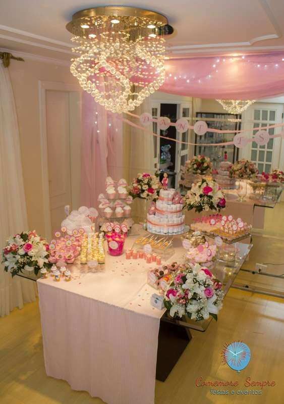 Girl Baby Shower Party Table! See more party planning ideas at CatchMyParty.com!