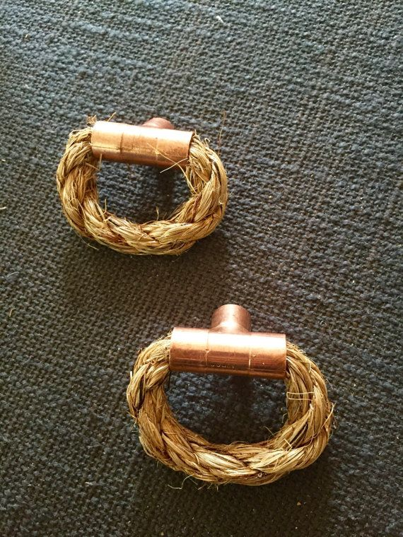 Copper Rope Knobs T ends Drawer knobs Cabinet by CKandNateCreate
