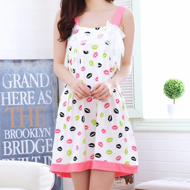 2017 Wholesale Sleepwear Summer Milk Silk Nightgown Cute Cartoon Home Furnishing Nightgown Lace Bow Strap Sexy Gecelik Dress