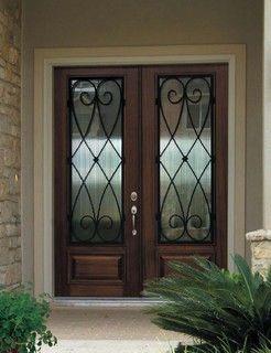 Prehung Double Door 96 FSC Wood Mahogany Charleston 3/4 Lite Wrought - mediterranean - front doors - tampa - by US Door & More Inc