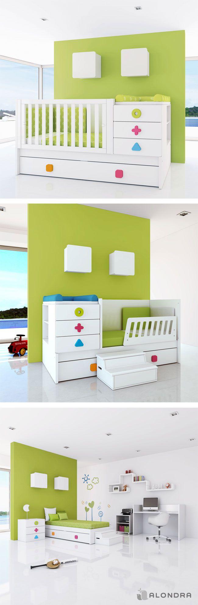 ¡Increíble transformación de la cuna ZERO MATHS de ALONRA! Es la opción perfecta a largo plazo, una cuna que se convierte en habitación completa tanto para niño como para niña. Además, está disponible en más colores.