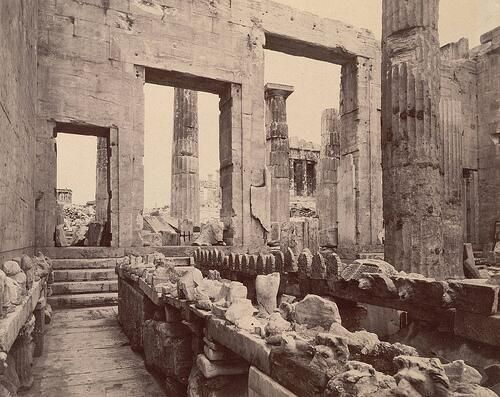 The temple of Athena Apteros in the Erechthem built by the Greek architect Mnesikles,Athens,Photograph date:186