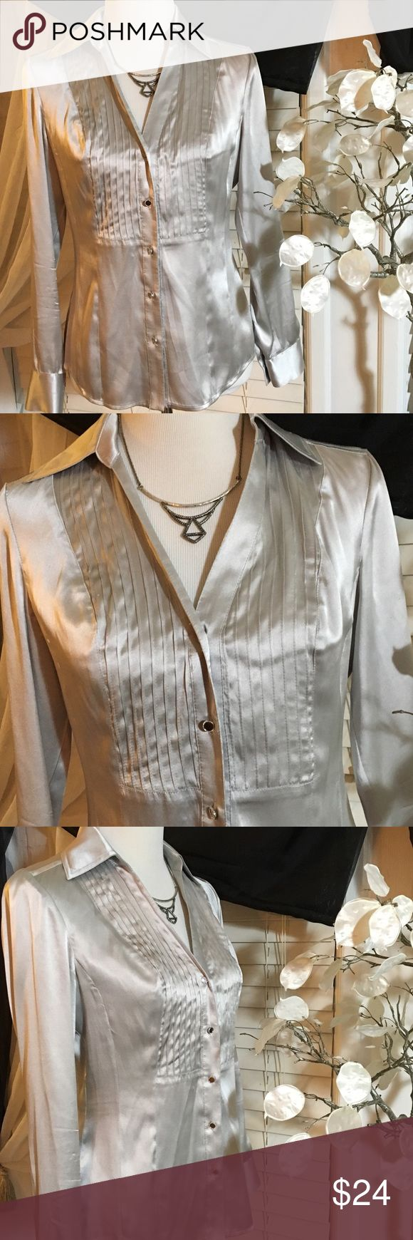 CACHE Silver Blouse Stunning silver blouse , 100% silk , perfect condition Cache Tops Blouses