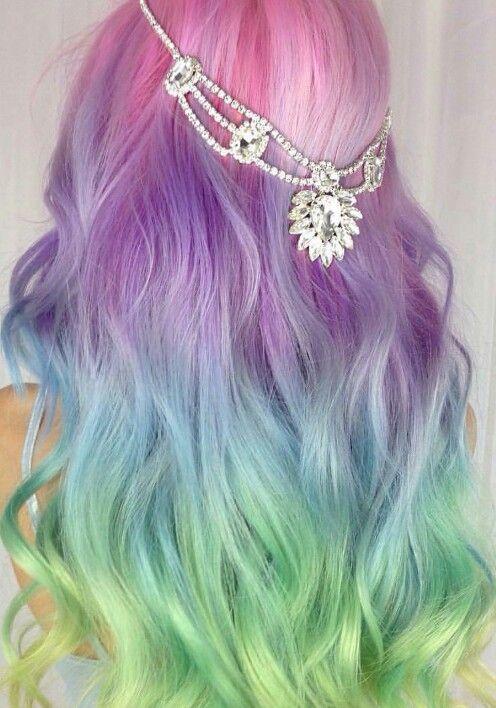 Pastel rainbow dyed hair @amythemermaidx