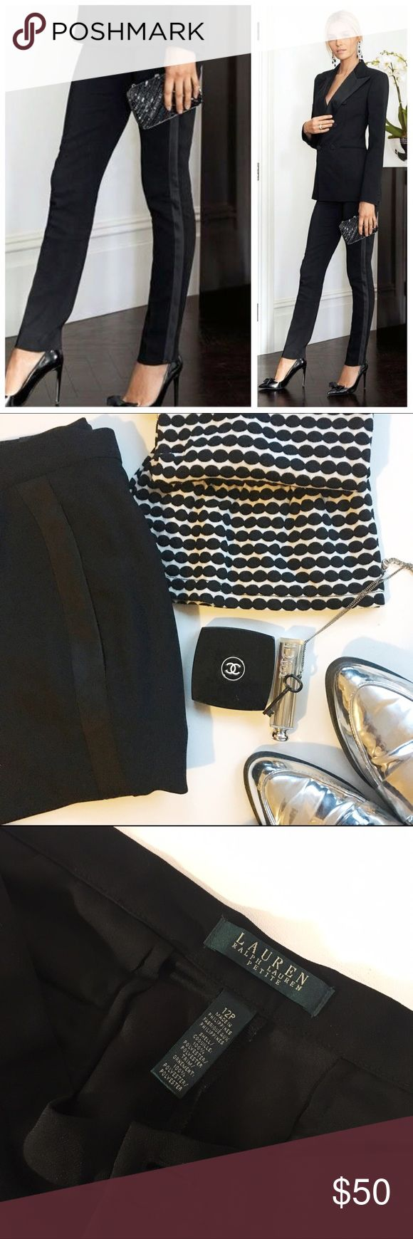 Ralph Lauren Petite Silk trim fitted tuxedo pants Lovely but unfortunately to small for me, perfect pants to wear anywhere! With heels for a killer look , trainers or even flip flops for a casual look  Lauren Ralph Lauren Pants Trousers