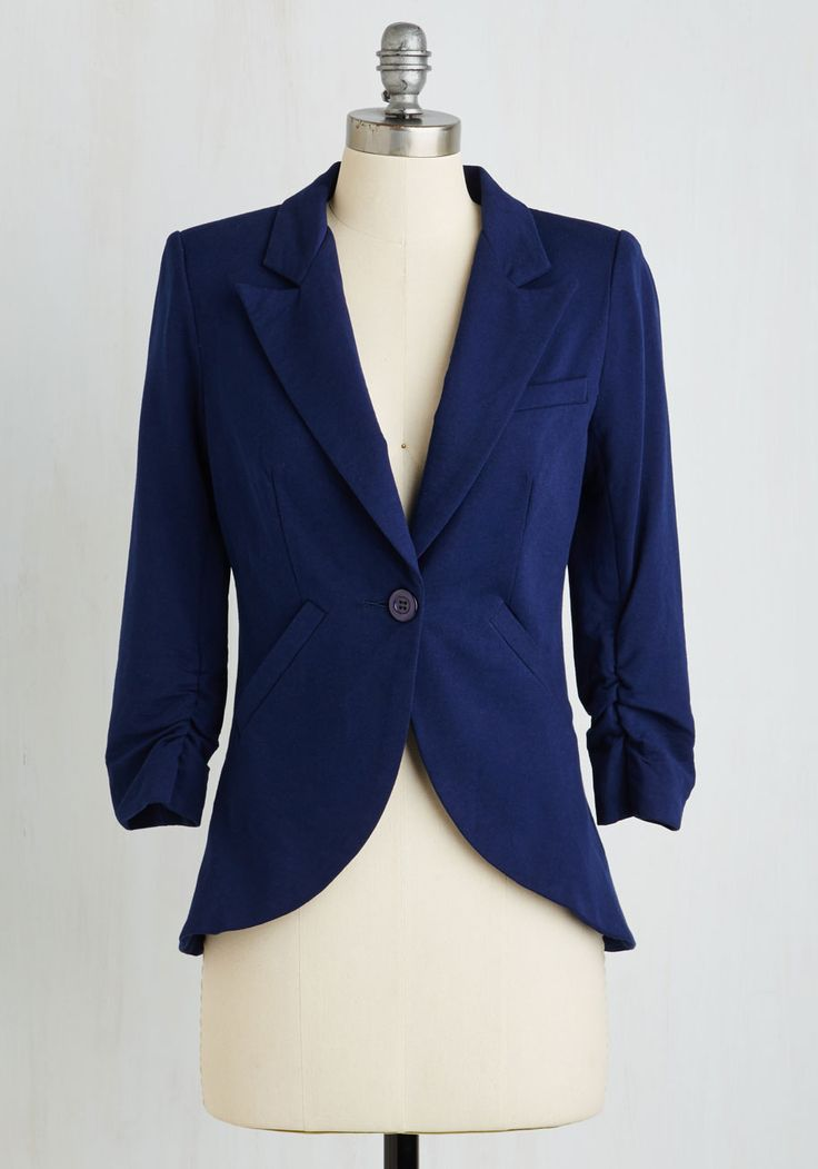 Fine and Sandy Blazer in Navy. No need to roll up your sleeves before the big meeting - this one-button blazer boasts ruched 3/4-length sleeves for a look that means chic and functional business. #blue #modcloth