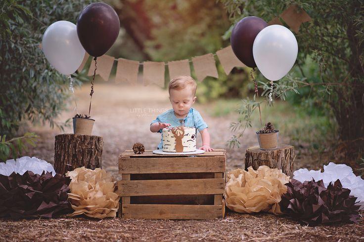 Little Things by Marlnena - Boise Idaho Newborn Photographer. outdoor cake smash. rustic cake smash. deer cake. smash cake. brown, white birthday theme. first birthday photos. boise baby photographer.