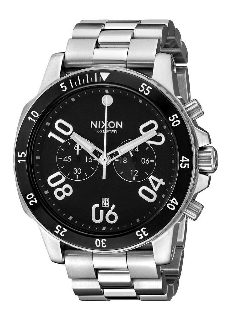 Nixon Men's A549000-00 Ranger Chrono Analog Display Quartz Silver Watch. Rugged design for an outdoor lifestyle, detailed in a contemporary appearance. 5-hand chronograph, 24-hour and 30-minute subdials, countdown timer and date window at 6 o'clock. Quartz Movement. Case Diameter: 44mm. Water resistant to 100m (330ft): in general, suitable for swimming and snorkeling, but not diving.