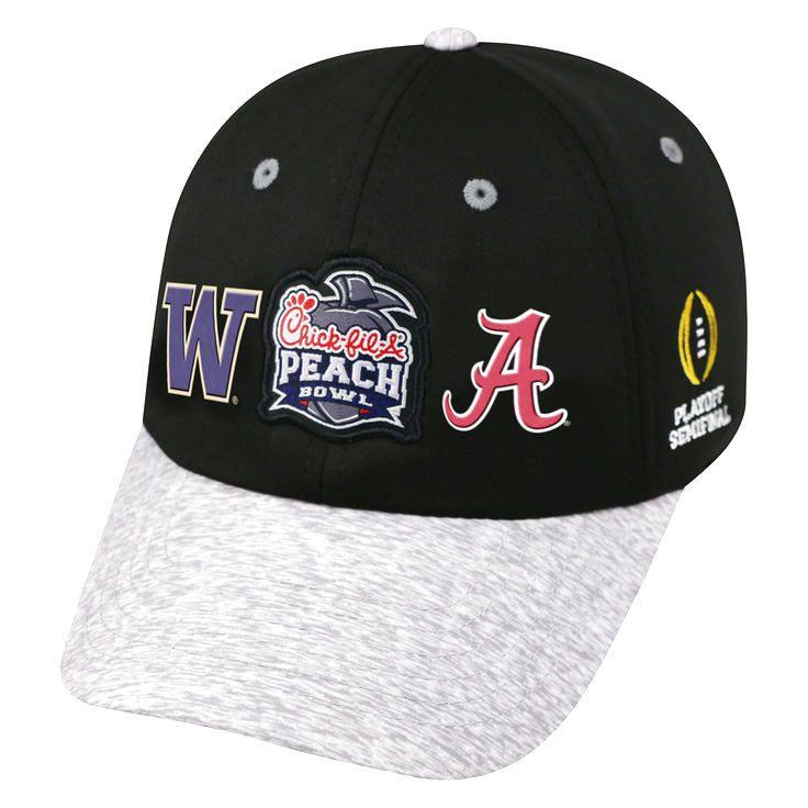 Alabama Crimson Tide vs. Washington Huskies Top of the World College Football Playoff 2016 Peach Bowl Dueling Adjustable Hat - Black/Heathered Gray - $23.19