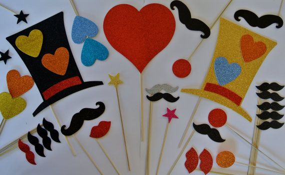 Party Props Mustache on a Stick Wedding Photo Booth Party Props ...
