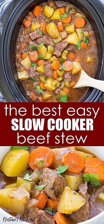 Slow Cooker Beef Stew In 2020 Slow Cooker Beef Stew Easy Crockpot Recipes Beef Stew Slow Cooker Beef Stew