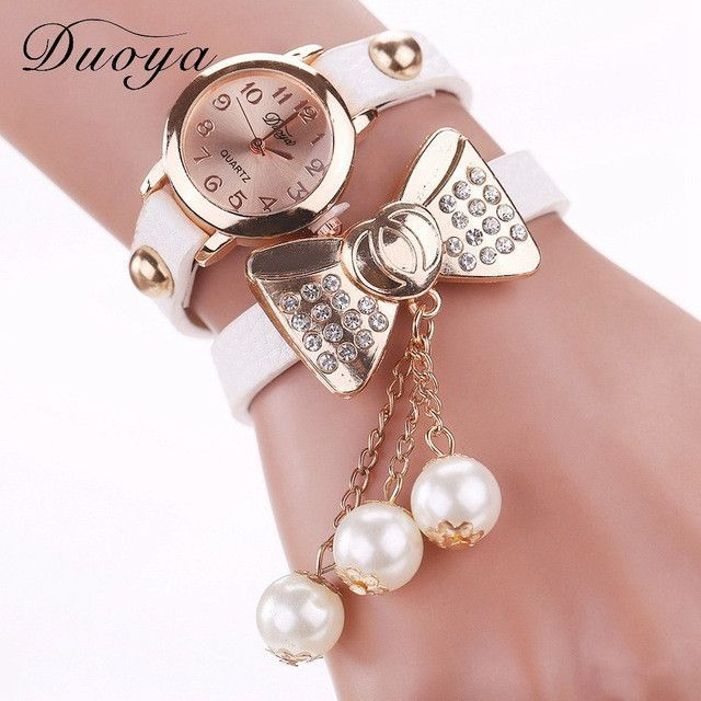 Duoya Brand Watch Women Fashion Butterfly Bow Pearl Casual Leather Bracelet Wristwatch Women Dress Cheap Electronics Watch XR533
