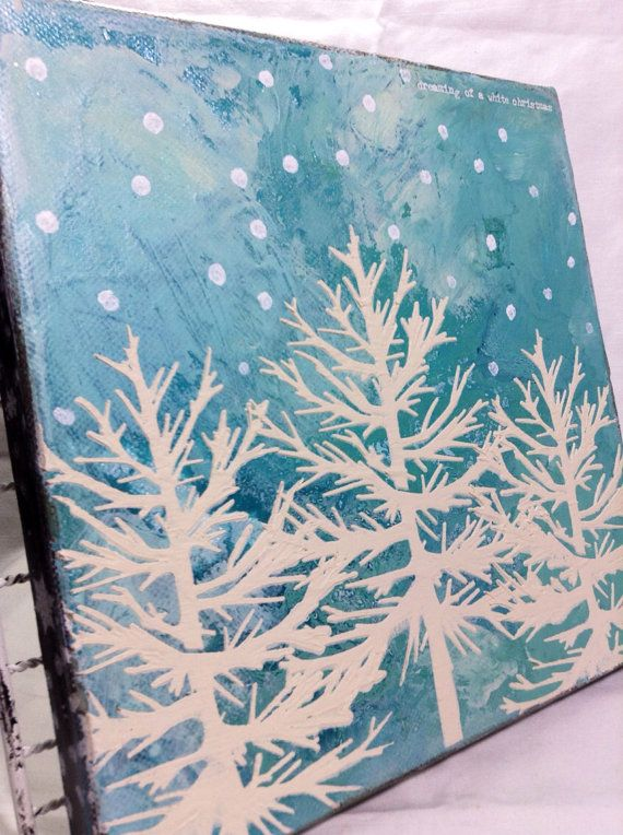 Dreaming of a White Christmas canvas by mangiaDesigns on Etsy, $18.00