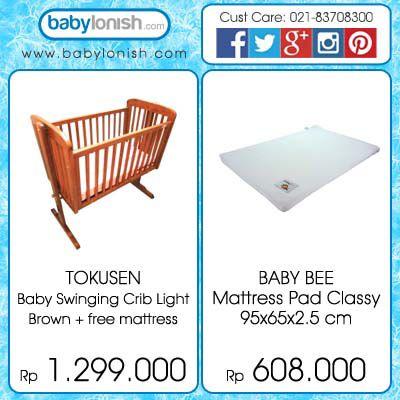 Ingin bayi Anda diayun-ayun? Gunakan Tokusen baby swinging crib, serta dapatkan matras premium dari Baby Bee.  Hanya di www.babylonish.com