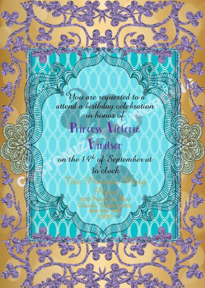 JASMINE Alladin Inspired Invitation Fairytale Birthday CUSTOM Wording by GigiBabi on Etsy