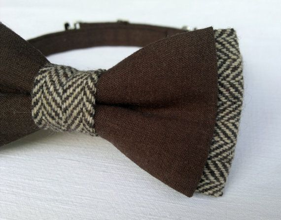 Men's Mixer Bow Tie Tweed and Cotton Brown by KristineBridal