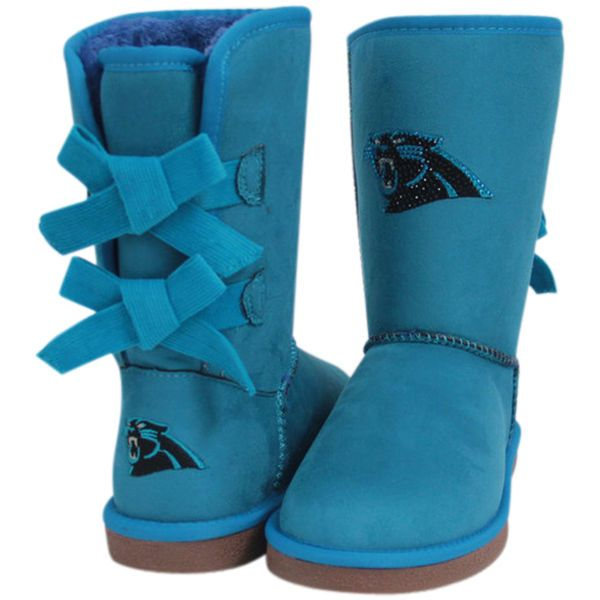 Women's Carolina Panthers Cuce Blue Patron Bow Boots