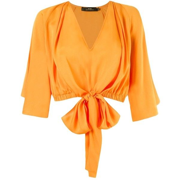 Andrea Marques v-neck cropped blouse ($435) ❤ liked on Polyvore featuring tops, blouses, orange, orange top, v neck crop top, v neck blouse, cut-out crop tops and orange crop top
