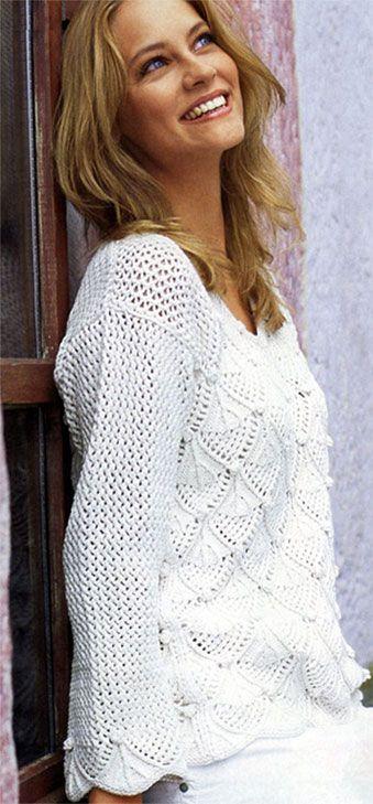 Пуловер, связанный спицами. Модели для молодежи