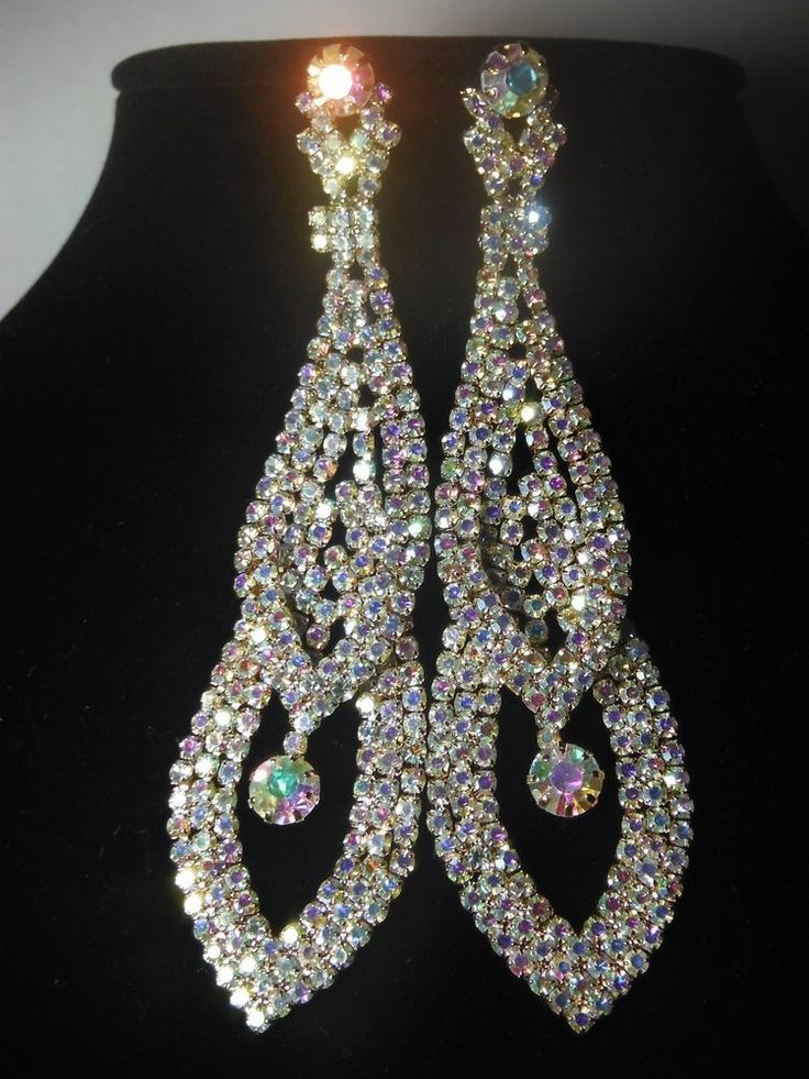 Ab crystal earrings ballroom latin dance performance Long Peagent Bride Wedding