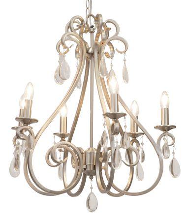 Bianca 6 light satin silver chandelier