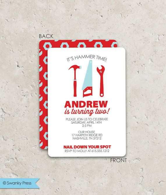 Tools Birthday Party Invitations .  Fun 2sided by swankypress, $20.00