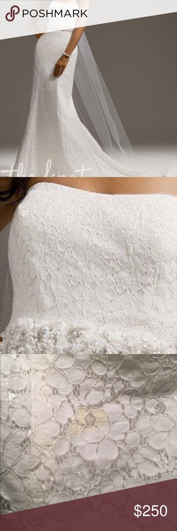 """Galina Wedding Dress Galina size 10 wedding dress style kp3221. Hemmed for 5'3"""" with 3 inch heels. One spot on it (see photo) located on the front under breast. It has never been attempted to be cleaned. Belt not included. Purchased from David's Bridal. David's Bridal Dresses Wedding"""