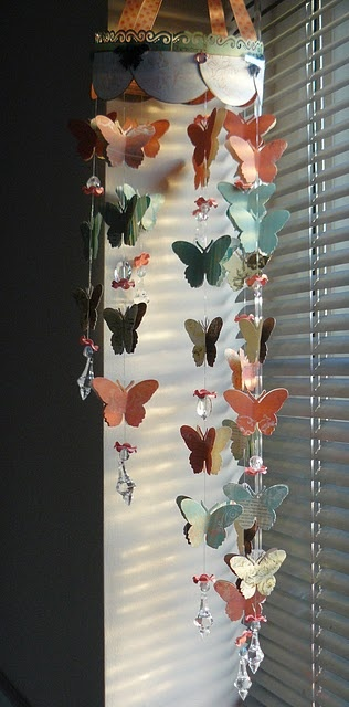butterfly mobile - colorful, beaded, decorated hoop with ribbons