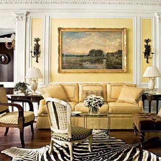 Luv the Zebra skin rug used in this elegant setting