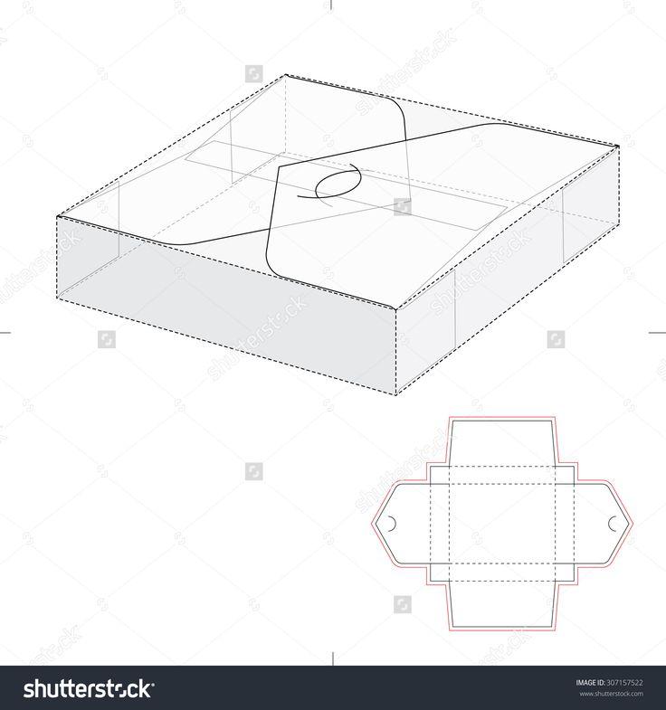 Square Fold With Die Line Blueprint Illustration vectorielle libre de droits 307157522 : Shutterstock