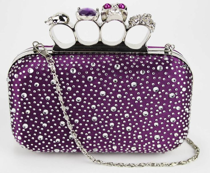 Purple Skull Knuckle Ring Diamante Rhinestone Evening Clutch Bag