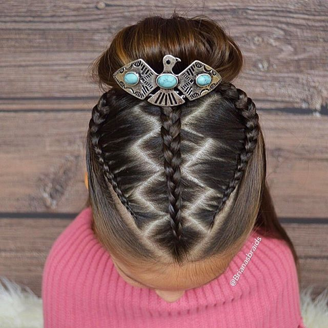Zigzag zag part with three braids into a bun