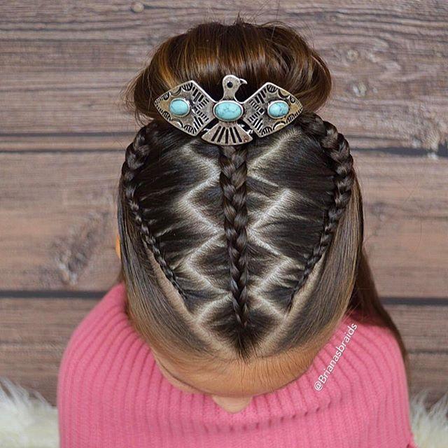 Zigzag zag part with three braids into a bun