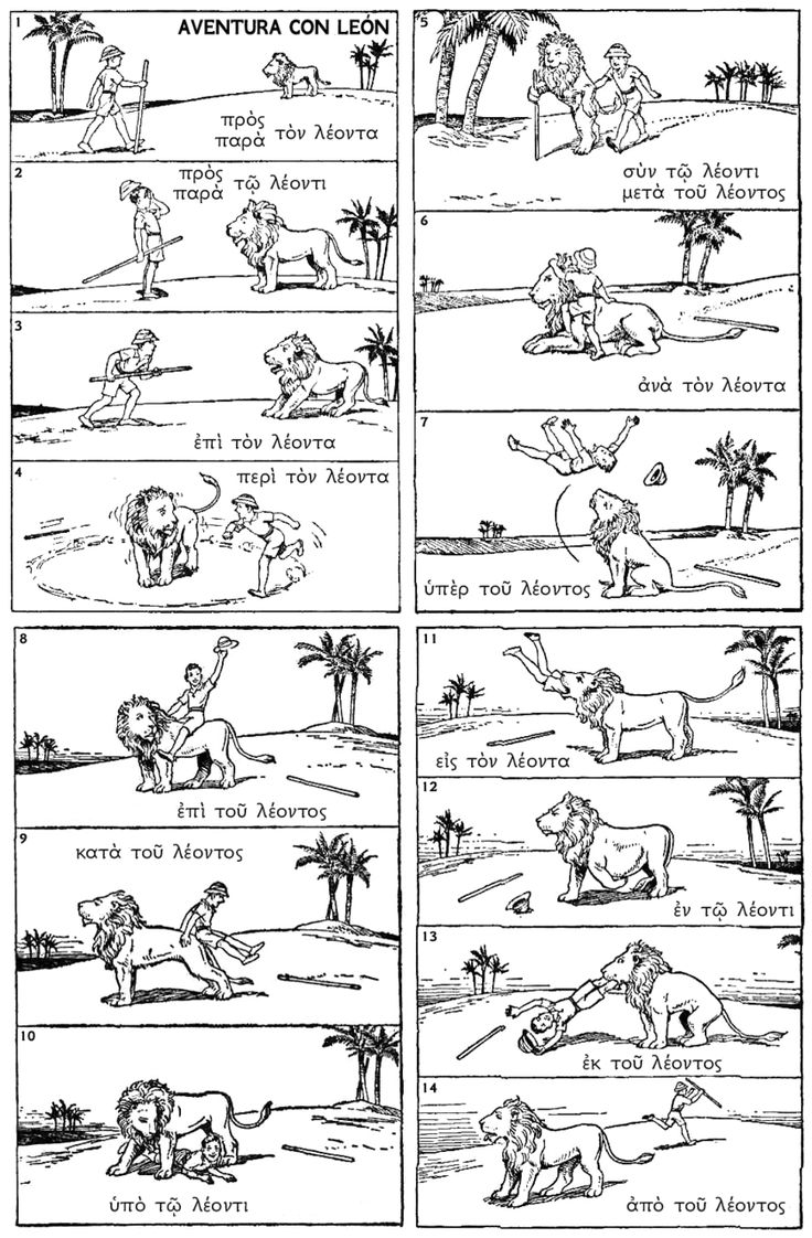"""glitteredsunsets: """"Trying to find some study tools for Greek and found this nifty little preposition comic. Not gonna lie, I definitely laughed. Mainly because of how completely absurd it is. """""""