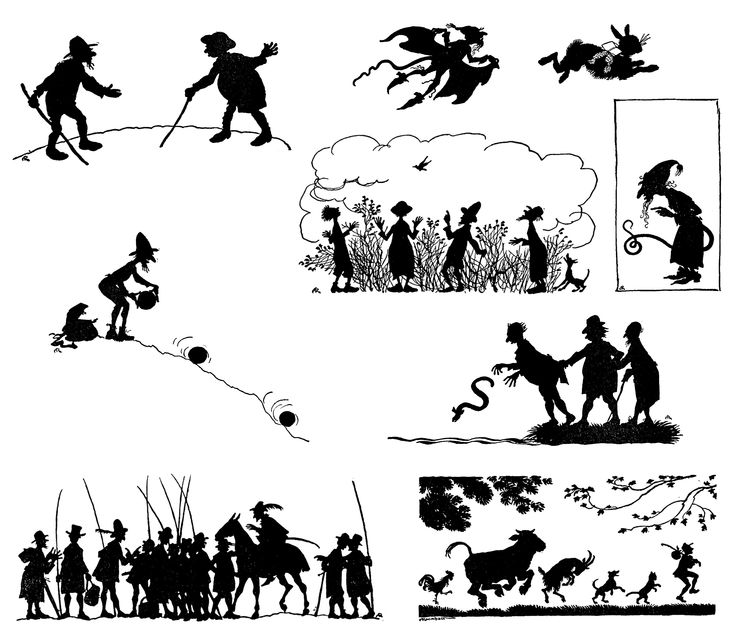 """Silhouettes illustrations by Arthur Rackham from """"English"""