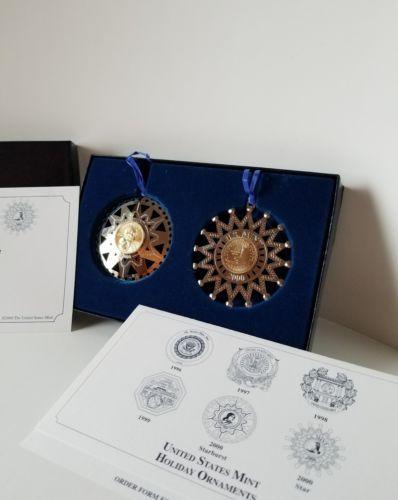 2000 US Mint Holiday Double Ornament Set - Sacagawea Dollar