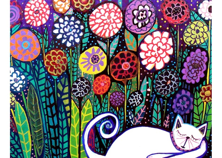 Onto the walls. I love the colors contrasting with the snoozing white cat of this print.