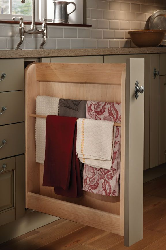 pull-out towel drawer; love this bc I always have towels hanging out and they are ugly