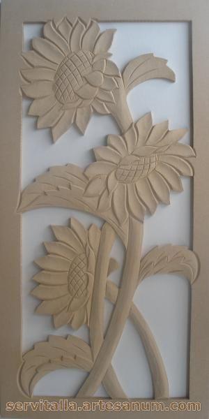 cuadros de girasoles tallados en madera - Buscar con Google