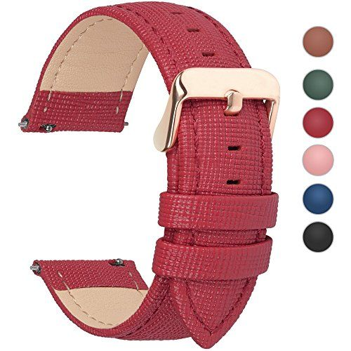 6 Colors for Quick Release Leather Watch Band, Fullmosa Cross Genuine Leather Replacement Watch Strap with Stainless Metal Clasp 20mm Red #Pebble Watch