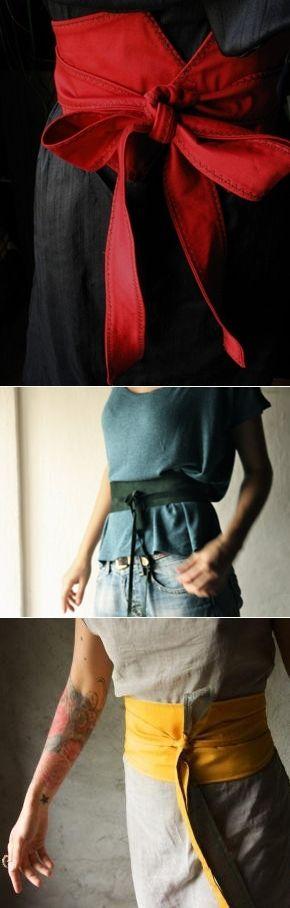 Fashion D.I.Y.- TRES FORMAS DE CONFECCIONAR UN OBI. [Spanish fashion tutorial for three ways to make an obi, from knot.blogspot.com.es.]