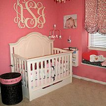 Watermelon Pink, Black And Antique White Baby Girl Nursery With Large  Wooden Wall Monogram. Part 71