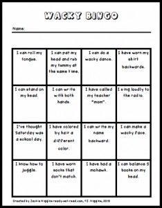 Wacky Wednesday Bingo Activity